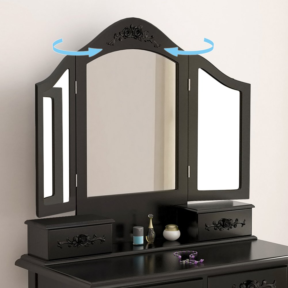 Tribesigns Wood Makeup Vanity Table Set with 3 Tri Mirror and Stool Bedroom Dressing Table Dresser Desk, Black