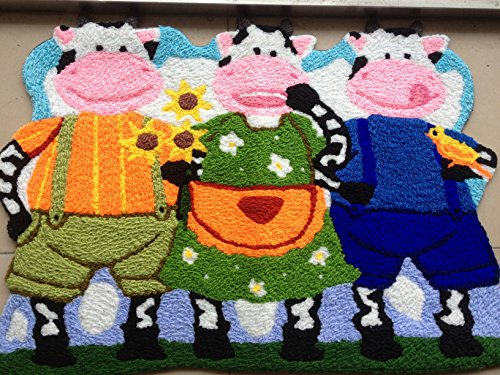 YOYOMALL Three Cow Area Rugs Hand-embroidered Floor Mats Personalized Custom Carpets Cow Imprint Anti-slip Mat Pastoral Style Carpet