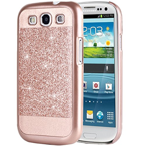 Galaxy S3 Case, BENTOBEN Sparkly Bling Hybrid Slim Hard Cover Laminated with Luxury Shiny Synthetic Leather Protective Case for Samsung Galaxy S3 Rose Gold (Samsung Galaxy S3 Phone Case compare prices)