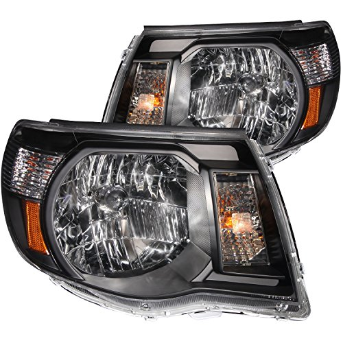 Anzo USA 121191 Toyota Tacoma Black With Amber Reflectors Headlight Assembly - (Sold in Pairs) (Toyota Tacoma Black Headlights compare prices)