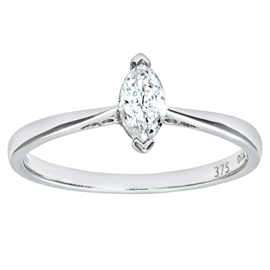 Naava Ladies Engagement Ring, 9ct White Gold with Marquise Solitaire Diamond, 1/4 Carat Diamond Weight