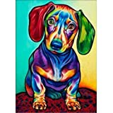 5D DIY Diamond Painting - Animal Resin Cross Stitch Kit - Crystals Embroidery - Home Decor Craft (Dog) (Color: Dog, Tamaño: one)