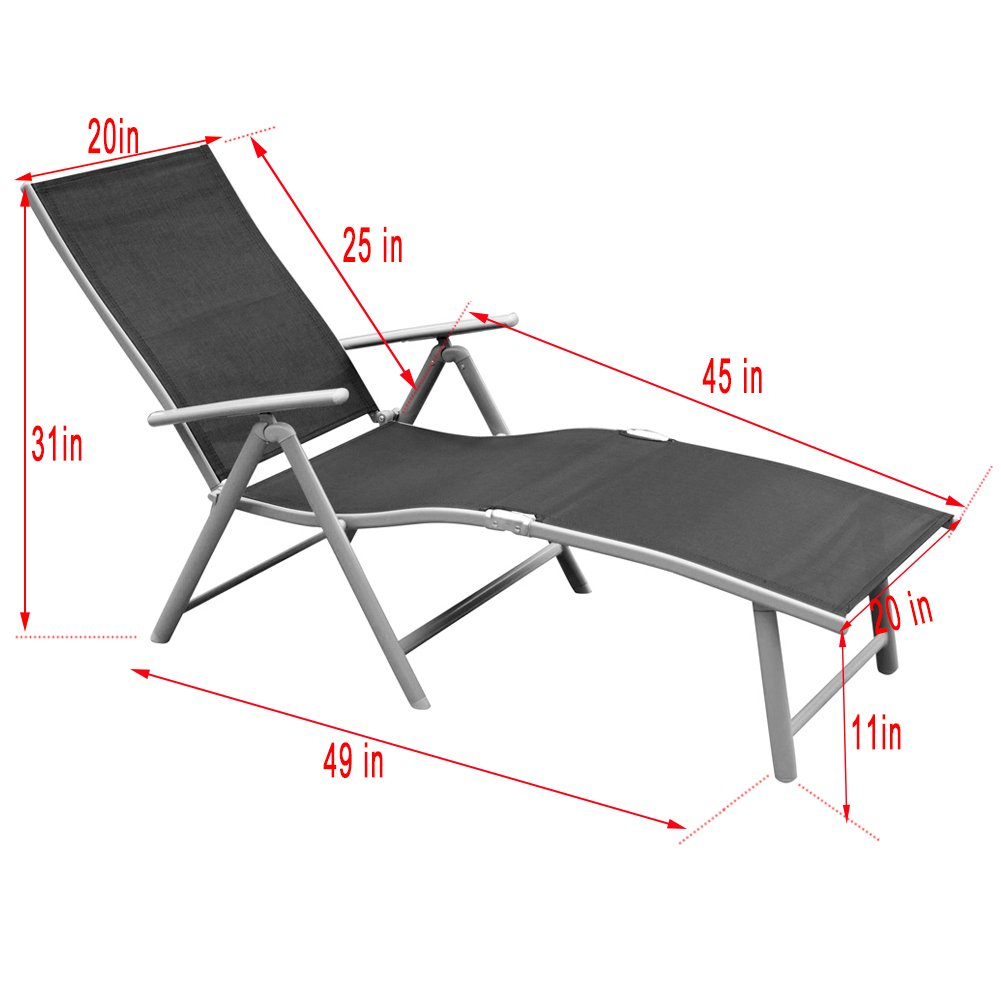 Toucan Outdoor Deluxe Aluminum Beach Yard Pool Folding Chaise Lounge Chair Recliner Outdoor Patio