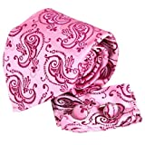 H5065 Pink Paisley Father Day Gift Idea For Anniversary Silk Tie Cufflinks Hanky Set 3PT By Y&G