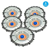 5pcs Wood Carving Disc,4 Inch Grinder Chain Disc for 100/115 Angle Grinder,22 Teeth, 5/8