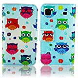 Thematys Faux Leather Flip Protective Phone Case in Hipster Owl Design for Samsung Galaxy S1 S Plus i9000/i9001