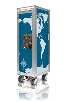 Skyboxx Aeroplane Trolley Original Includes 7 Plastic Drawers World Map Blue