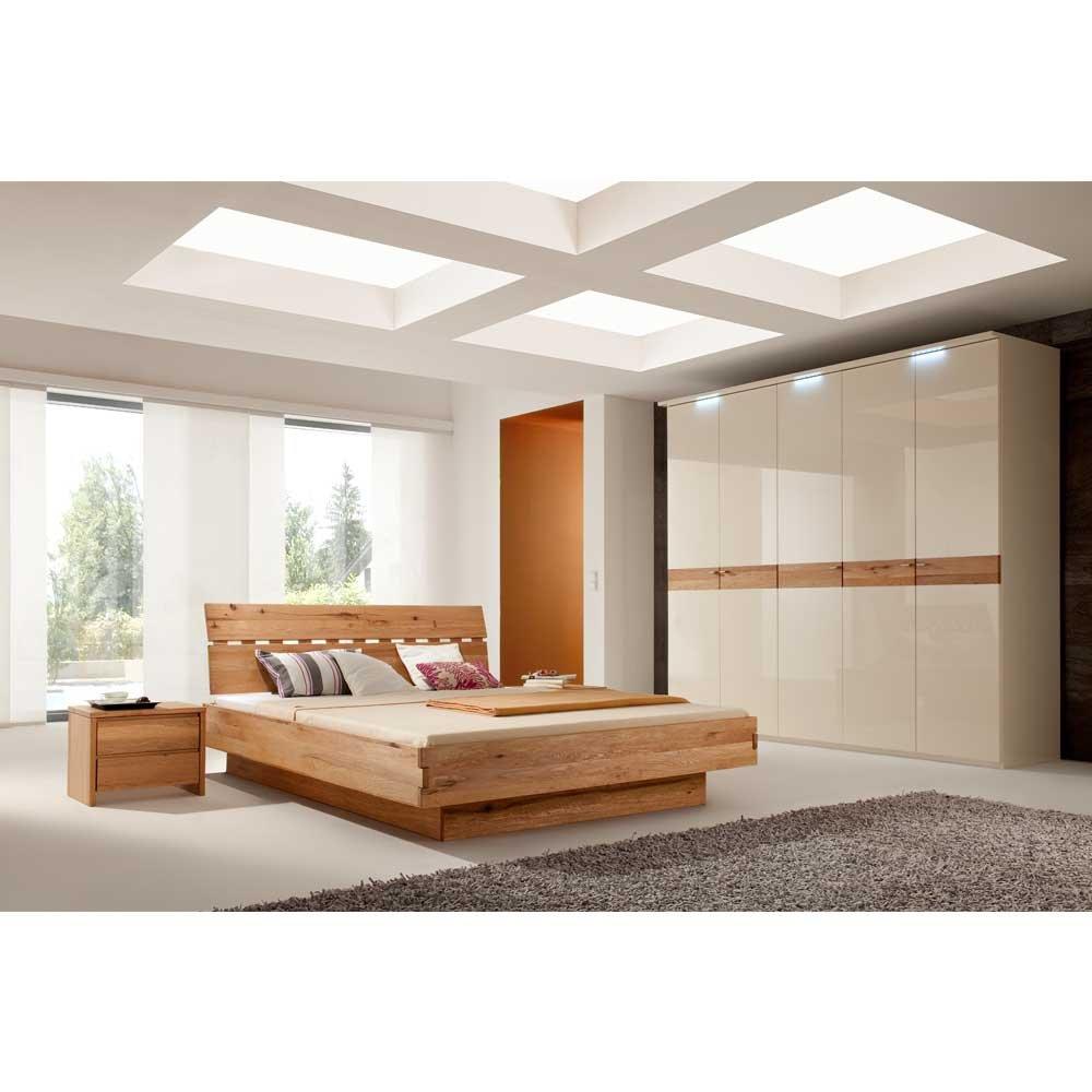 Schlafzimmermöbel Set aus Wildeiche Creme Hochglanz (4-teilig) Liegefläche 200×200 Pharao24 günstig bestellen