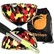 Harlequin Diabolos Set, Metal Diabolo Sticks, Diablo String & Bag (Red, Black & Yellow)