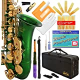 360-GR - Green/Gold Keys Eb E Flat Alto Saxophone Sax Lazarro+11 Reeds,Music Pocketbook,Case,Care Kit - 24 Colors with Silver or Gold Keys