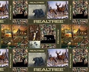 Realtree Camo Deer Bear Hunting Cabin Patches Fleece Fabric Print by the Yard
