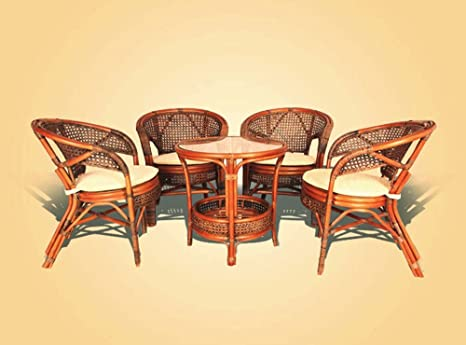 Pelangi Rattan Wicker 5 Pieces Set of 4 Chairs W/cushions and Round Coffee Table W/glass Colonial (Light Brown) Color