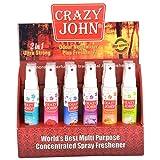 Crazy John Air Freshner Pack Of 12 - 60ml Each (Lemon, Crazy Fusion, Lavender, White Musk, Orange, Potpourri,...