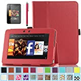 Kindle Fire HD 7.0 Case - ULAK Slim Fit PU Leather Standing Protective Cover with Auto Sleep/Wake Feature for Amazon Kindle Fire HD 7.0 Inch 2012 Gen with Screen Protector, Red