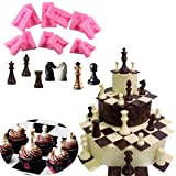 Anyana International chess game 6 sets fondnat silicone mold 3D double-sided printing gum paste mold chocolate candy mould baking clay cupcake toppers decorating cake tools (Color: International chess 6 sets, Tamaño: see picture)