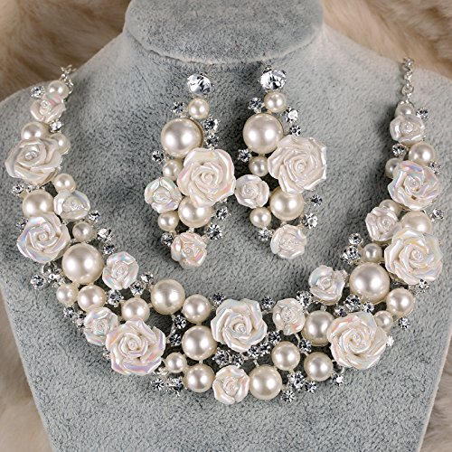 SHE Gorgeous Rose Bridal Wedding Prom Jewelry Set Necklace Earrings Pearl Crystal Rhinestone Anniversary Party Set