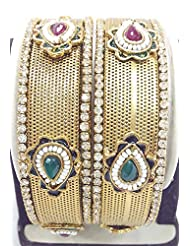 Bangles Kundan Poki Jade Pearl Gold Look High Quality One Gram Gold Plated Handmade Real Bangles 4619