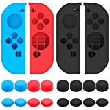 Protective Case for Nintendo Switch Joy-Con Controller with Thumb Caps, SENHAI 2 Pack Anti-slip Silicone Grips Covers with 16 Thumb Stick Pads - Black, Blue + Red