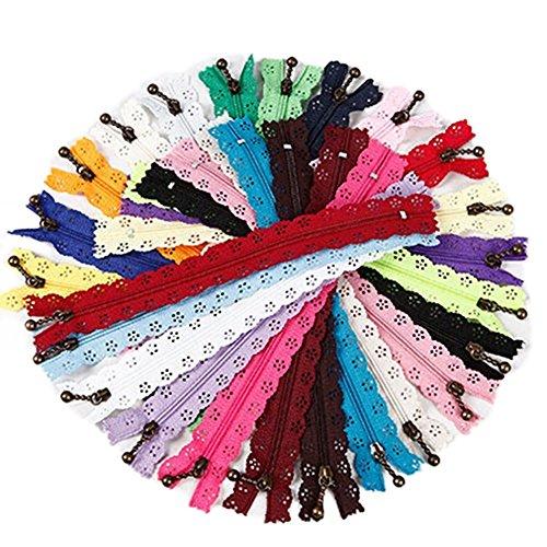 bluelans® 1020,3cm couleurs assorties en dentelle fermeture éclair fermée Vêtements à coudre Craft (couleur aléatoire)