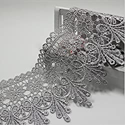 AINNY 3 Yards 8.5 CM Lace Trim Lace Applique Polyester for Clothes Home Textiles Apparel Sewing Lace Fabric (Antique brass)