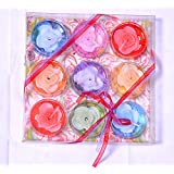 Floating Colored Aroma Round Tealight Candle(multicolor, Pack Of 9)