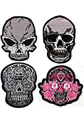 Lot of 4 Novelty Iron on Skull Candy Embroidered Patch / Badge Motorcycle Biker # WITH FREE GIFT # Buy Heart Shop