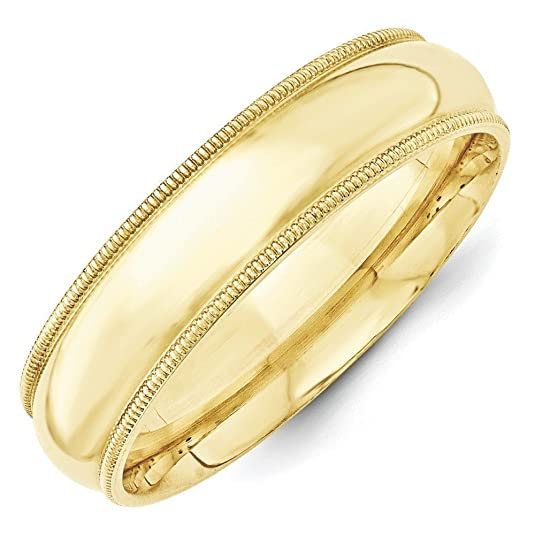 10k Yellow Gold 6mm Milgrain Comfort Fit Band Size Q 1/2 Ring - Higher Gold Grade Than 9ct Gold