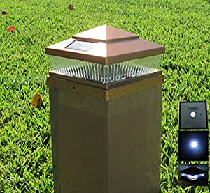 8 Pack Plastic Copper 5x5 Inches Outdoor 5 LED 78Lumens Solar Pos