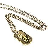 Dolovely Fortnite Logo Battle Royale Game Necklace Dog Tag Pendant Necklace (Color: 1 pcs copper tone necklace)
