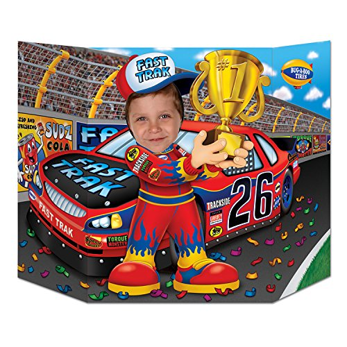 Beistle Race Car Driver Photo Property, 3-Feet 10-Inch by 25-Inch, Multicolor