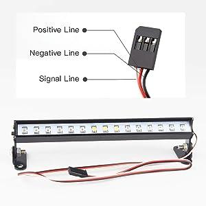 HOSIM RC Car Lights Bar,139mm 15 LED Lamp Police Red White Blue 8 Flash Modes Aluminum for 1//10 1//8 RC Trucks Traxxas Axial SCX10 Tamiya CC01 RC4WD Model Car Black