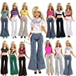 Barwa 5 Sets Handmade Blouse with Trousers Pants for Barbie Doll Barbie Clothes Xmas Gift