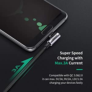 UGREEN USB C Cable 90 Degree Right Angle Type C to USB A Fast Charging Cable Quick Charger for iPad Pro 2018, Samsung S10 S9 Plus S8 Galaxy Note 9 8, LG V30 G6, Pixel XL, GoPro, Nintendo Switch (6FT) (Color: black, Tamaño: 6FT)