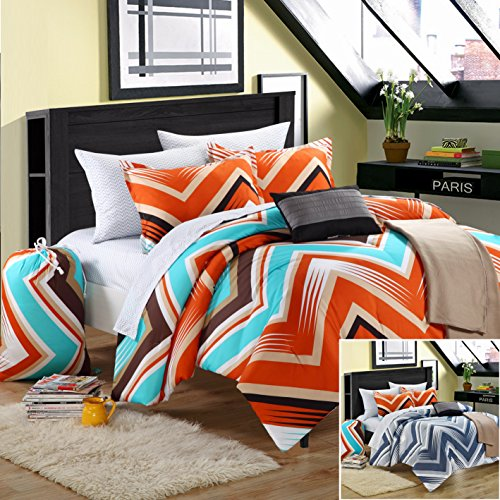 Chic Home 10-Piece Ziggy Zag Comforter Set With Shams Decorative Pillows And Sheet Set, Full, Orange front-940093