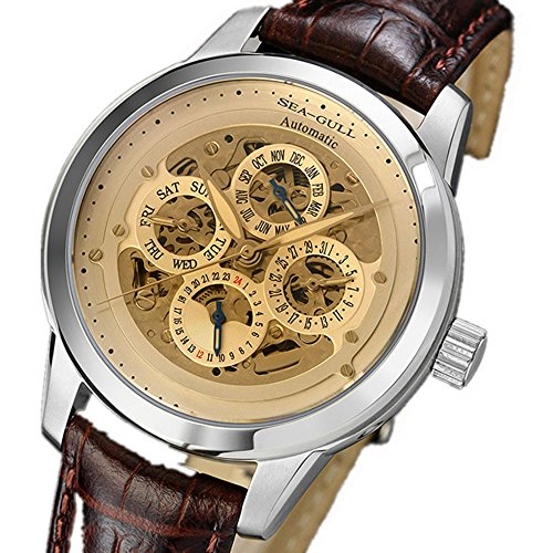 Luxury Brand Seagull Automatic Multifunction Business Mens Dress Watch D5332S Transparent Case Back