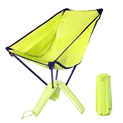 HWF Tumbonas Silla plegable cómoda al aire libre Silla de cubierta del ocio del marco de tres patas Silla de pesca de la playa de Sandy ( Color : Green-3 Pieces )