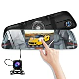 Mirror Dash Cam, Dual Lens 5.5 IPS Touch Screen 1080P HD Car Camera, Rear View Waterproof Backcup Camera 170 Degree Wide Angle with G-Sensor, Super Night Vision, Parking Monitor, Loop Recording