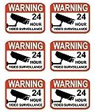 "6 Pcs Excessive Modern Video Surveillance Stickers Sign Anti-Robber 24Hr Warning Anti-Burglar Size 2.3"" x 3"""