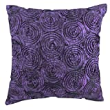 "That's Perfect! Concentric Flowers Decorative Silk Throw Pillow Sham - Fits 16"" x 16"" Insert (Violet)"