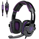 Gaming Headset With Microphone SADES SA930 3.5mm Gaming Headset For Xbox One/PS4/PC/Laptop/Computer/Smartphones/Noise Reduction Game Earph Game Earph with Surround Sound Stereo (Black+Purple) (Color: Black+purple, Tamaño: 6-12M)