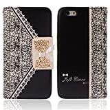 Pooqdo (TM) 2014 Fresh Cute Flip Wallet Leather Case Cover for iPhone 6 4.7'' Black