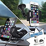2-in-1 Car Phone Mount + FREE USB Charger Adapter - Air Vent and Windshield Car Phone Holder & GPS Mount - Fits iPhone 7 6 6+ 5, Galaxy S6 S5 Note and all Smartphones
