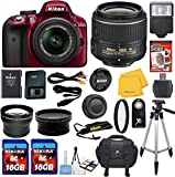 Nikon D3300 Red DSLR Camera Body with Nikon 18-55mm VR Standard Zoom Lens Celltime Exclusive Bundle with High Definition U.V. Filter + Wide Angle and Telephoto Auxiliary Lenses + Deluxe Camera Case + 2pcs 16GB Class 10 Memory Cards + 16pc Accessory Kit
