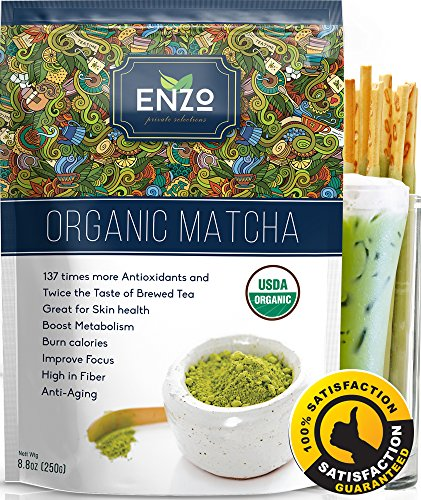 Matcha green tea powder USDA organic - 8.8 oz - 137x antioxidants than brewed green tea matcha - fat burner, sugar free