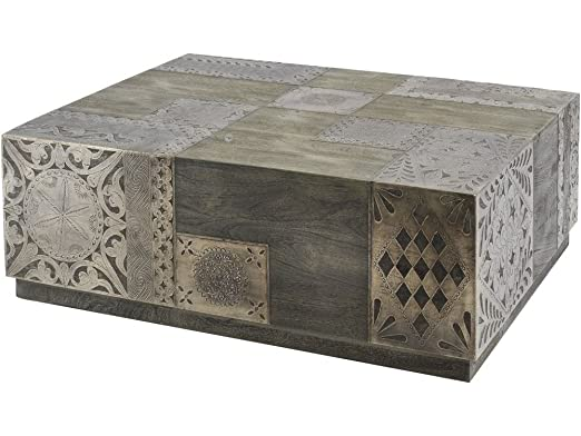 Alexis Etched Metal and Wood Coffee Table