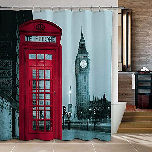 WoneNice Famous City Landmark Pattern Big Ben Fabric Shower Curtain, 72x72 Inch (Art Deco Shower Curtain compare prices)