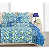 Swayam Eco Sparkle 140 TC Cotton Single Bedsheet With Pillow Cover - Floral, Navy Blue