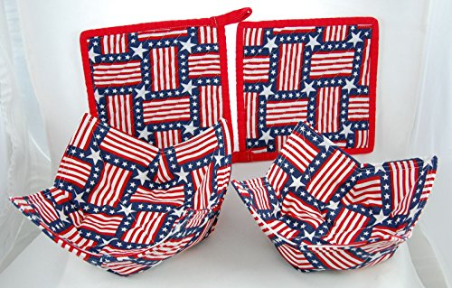 Set Of 2 Quilted Chenille Pot Holders And 2 Fabric Microwave Bowls - Patriotic Stars And Stripes - Handcrafted In The Usa - Limited Edition - Handmade Set - Satisfaction Guaranteed