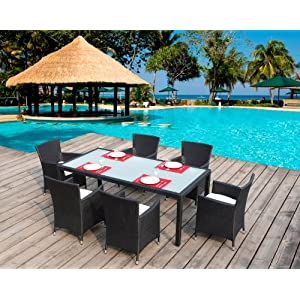 Salon de jardin table en r sine tress e 6 places noir for Petite table de jardin en resine tressee