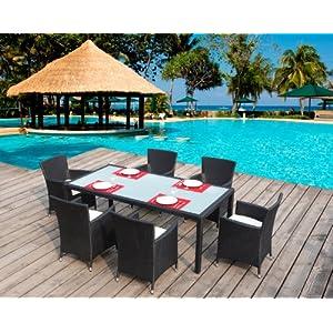 Salon de jardin table en r sine tress e 6 places noir for Salon de jardin amazon